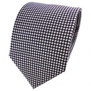 Designer Satin Seidenkrawatte silber blau dunkelblau gepunktet - Krawatte Seide