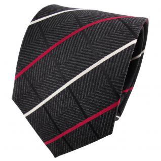 Designer Seidenkrawatte anthrazit schwarz silber rot gestreift - Krawatte Seide