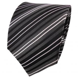 Designer Satin Seidenkrawatte anthrazit schwarz silber gestreift - Krawatte Silk