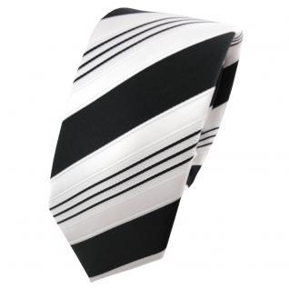 Schmale TigerTie Satin Krawatte schwarz anthrazit weiß silber gestreift - Binder