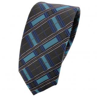 Schmale TigerTie Krawatte türkis anthrazit silber schwarz kariert - Binder Tie