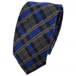 Schmale TigerTie Krawatte blau royal anthrazit silber schwarz kariert - Binder