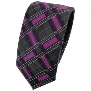 Schmale TigerTie Krawatte magenta lila anthrazit silber schwarz kariert - Binder