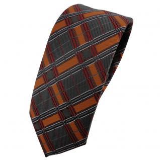 Schmale TigerTie Krawatte orange dunkelorange anthrazit silber schwarz kariert