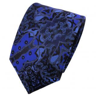 TigerTie Seidenkrawatte blau dunkelblau schwarz gemustert - Krawatte Seide