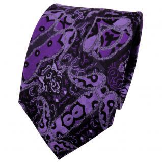 TigerTie Seidenkrawatte lila violett schwarz gemustert - Krawatte Seide Silk