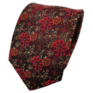 TigerTie Seidenkrawatte orange rot rotorange oliv gemustert - Krawatte Seide Tie