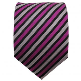TigerTie Seidenkrawatte magenta silber schwarz gestreift - Krawatte Seide Binder - Vorschau 2