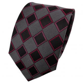 TigerTie Seidenkrawatte rot rosé anthrazit schwarz kariert - Krawatte Seide Tie