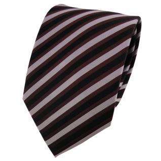 TigerTie Seidenkrawatte bordeaux silber schwarz gestreift - Krawatte Seide - Vorschau 1