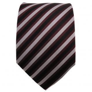 TigerTie Seidenkrawatte bordeaux silber schwarz gestreift - Krawatte Seide - Vorschau 2
