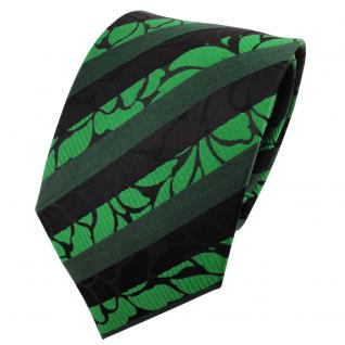 TigerTie Satin Seidenkrawatte grün leuchtgrün schwarz gestreift - Krawatte Seide