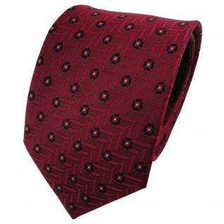 TigerTie Satin Seidenkrawatte rot schwarz silber gepunktet - Krawatte Seide