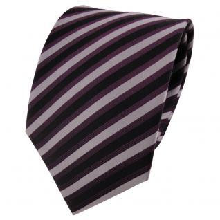 TigerTie Seidenkrawatte lila dunkellila silber schwarz gestreift- Krawatte Seide