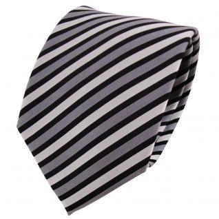 TigerTie Seidenkrawatte silber grau schwarz anthrazit gestreift - Krawatte Seide