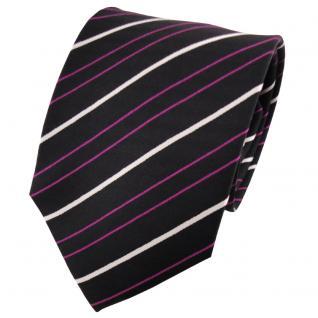 TigerTie Seidenkrawatte magenta lila schwarz silber gestreift - Krawatte Seide