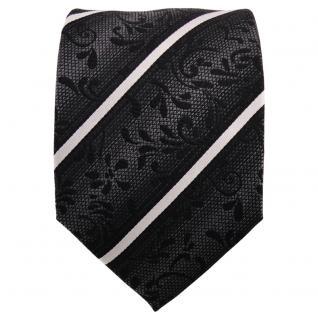 TigerTie Seidenkrawatte anthrazit schwarz silber gestreift - Krawatte Seide Tie - Vorschau 2