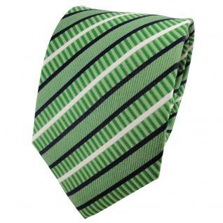 TigerTie Seidenkrawatte grün hellgrün blau weiß gestreift - Krawatte 100% Seide - Vorschau 1