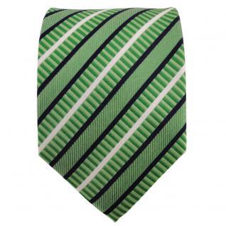 TigerTie Seidenkrawatte grün hellgrün blau weiß gestreift - Krawatte 100% Seide - Vorschau 2
