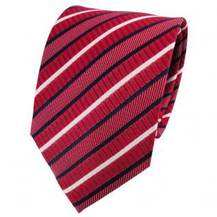 TigerTie Seidenkrawatte rot signalrot dunkelblau weiß gestreift - Krawatte Seide
