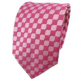 TigerTie Seidenkrawatte rosa pink silber blau kariert - Krawatte 100% Seide
