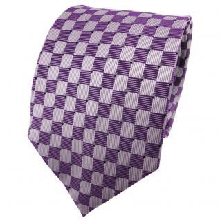 TigerTie Seidenkrawatte lila flieder silber blau kariert - Krawatte 100% Seide
