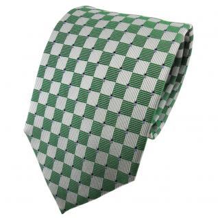 TigerTie Seidenkrawatte grün smaragdgrün silber blau kariert - Krawatte Seide