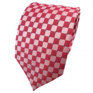 TigerTie Seidenkrawatte rot verkehrsrot silber blau kariert - Krawatte Seide