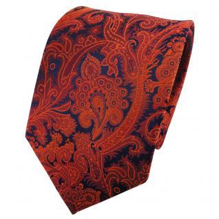 TigerTie Seidenkrawatte orange rotorange blau gemustert - Krawatte Seide
