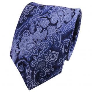 TigerTie Seidenkrawatte blau fernblau dunkelblau gemustert - Krawatte Seide