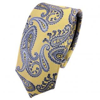 Schmale TigerTie Seidenkrawatte gold blau hellblau Paisley - Krawatte Seide