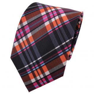 TigerTie Seidenkrawatte orange rosa anthrazit silber blau kariert - Krawatte Tie