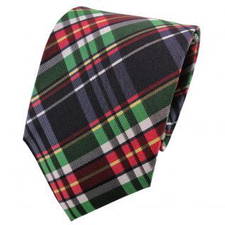 TigerTie Seidenkrawatte grün rot anthrazit silber gelb kariert - Krawatte Seide