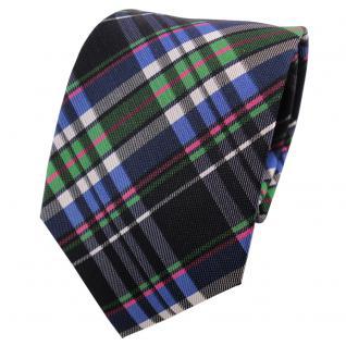 TigerTie Seidenkrawatte blau grün anthrazit silber magenta kariert - Krawatte