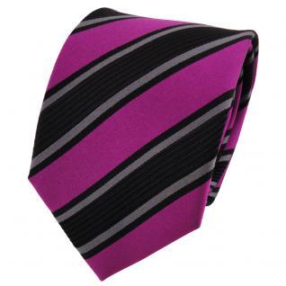 TigerTie Seidenkrawatte magenta anthrazit schwarz gestreift - Krawatte Seide