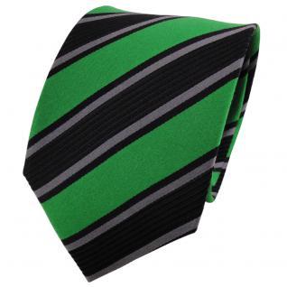 TigerTie Seidenkrawatte grün grasgrün anthrazit schwarz gestreift - Krawatte