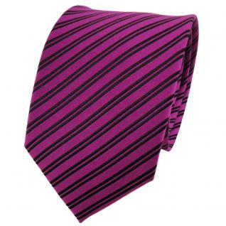 TigerTie Designer Seidenkrawatte magenta schwarz gestreift - Krawatte 100% Seide
