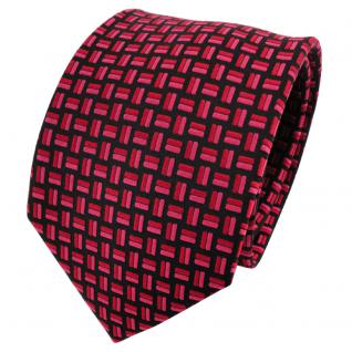 TigerTie Seidenkrawatte rot rosé schwarz gemustert - Krawatte 100% Seide