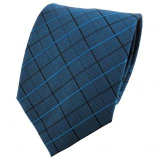TigerTie Designer Seidenkrawatte blaugrün schwarz kariert - Krawatte 100% Seide