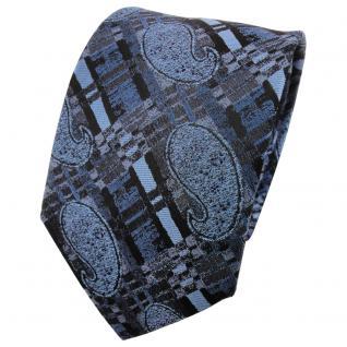 TigerTie Designer Seidenkrawatte azurblau anthrazit schwarz gestreiftes Muster