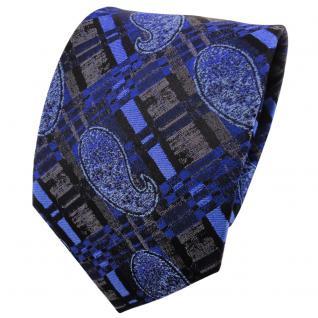 TigerTie Seidenkrawatte ultramarinblau blau anthrazit schwarz gestreiftes Muster