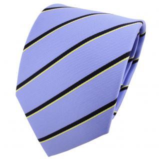 TigerTie Designer Krawatte hellblau schwarzblau gold gestreift - Binder Tie