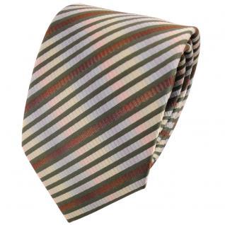 TigerTie Designer Krawatte in olivgrün braun mehrfarbig gestreift - Tie Binder