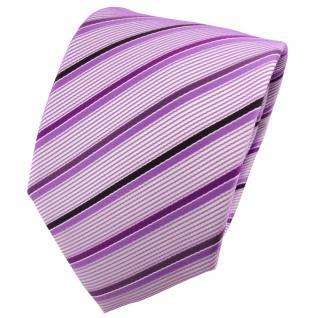 TigerTie Designer Krawatte lila flieder silber gestreift - Cravate Tie Binder