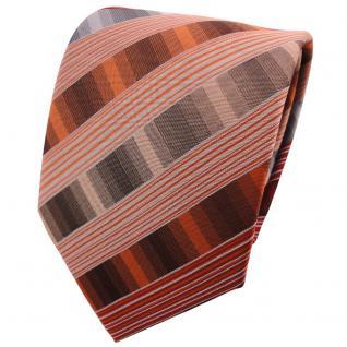 TigerTie Designer Krawatte weinrot rot beige braun grau gestreift - Binder