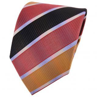 TigerTie Designer Krawatte mehrfarbig bronze anthrazit rosé gestreift - Binder