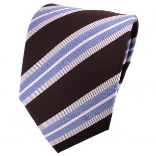 TigerTie Designer Krawatte weinrot silber brillantblau gestreift - Binder