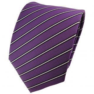 schöne TigerTie Designer Krawatte lila schwarz silberweiß gestreift - Binder