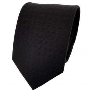 schöne feine TigerTie Designer Krawatte schwarz uni gemustert - Binder Tie