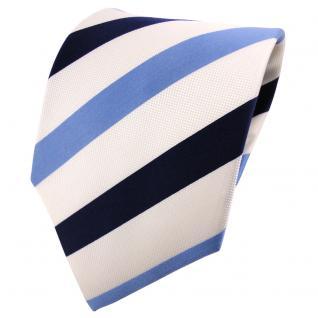 Seidenkrawatte blau royal perlmuttweiß gestreift - Tie Krawatte 100% Seide Silk